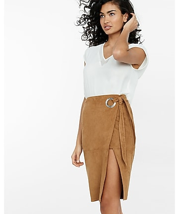 faux suede wrap pencil skirt
