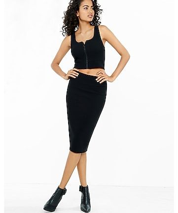 black ribbed midi pencil skirt
