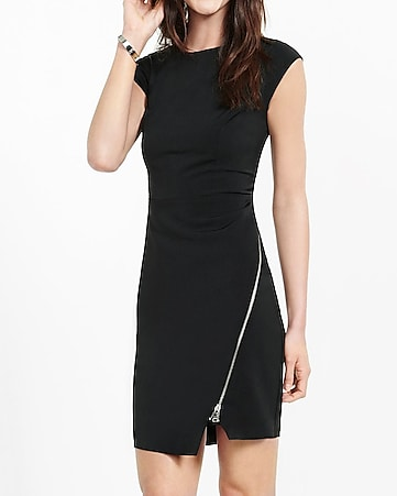 black asymmetrical zipper sheath dress