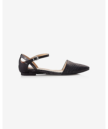 textured d'orsay flat with crisscross ankle strap