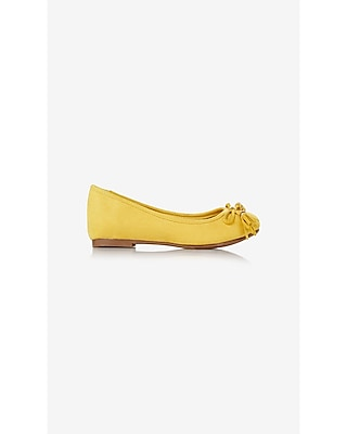 Express Womens Round Toe Faux Suede Bow Top Flat Yellow 6