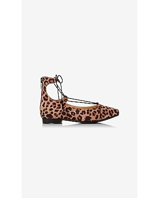 Express Womens Pointed Toe Lace-Up Flat