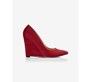 faux suede pointed toe wedge pump