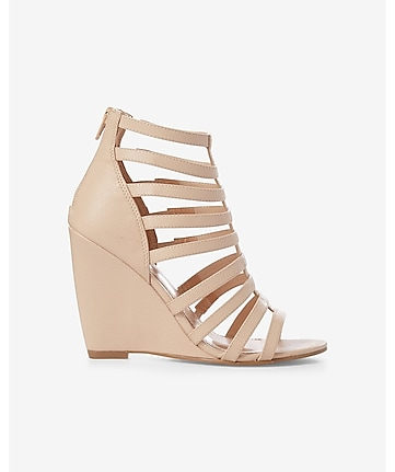 faux lizard wedge cage sandal