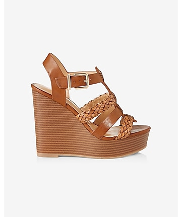 braided strap platform wedge sandal