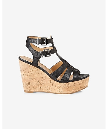 black strappy chunky wedge sandal