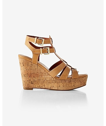 tan strappy chunky wedge sandal