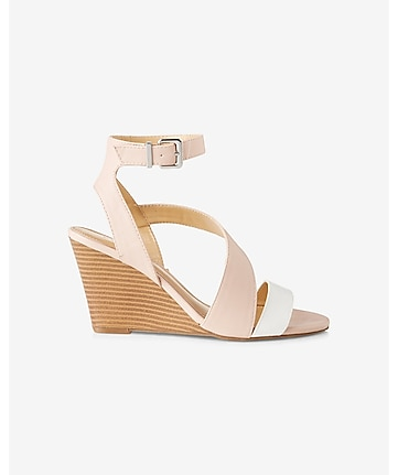 color block asymmetrical low wedge sandal