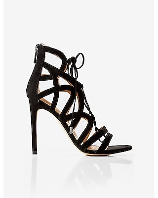 Express Womens Strappy Faux Suede Lace-Up Heeled Sandal Black 7
