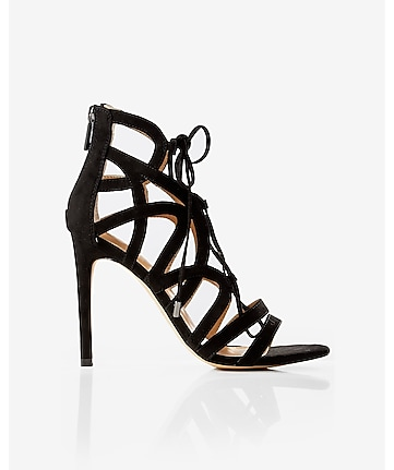 strappy faux suede lace-up heeled sandal
