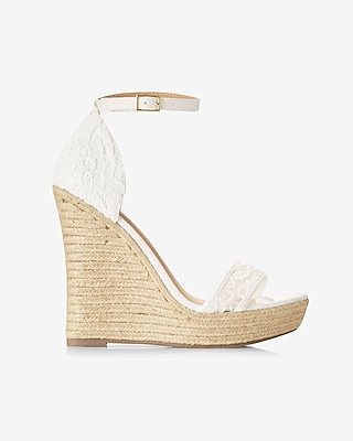 Express Womens Faux Suede Espadrille Wedge Sandal White 8