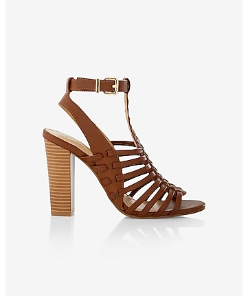 basketweave stacked heel sandal