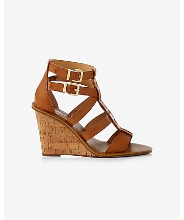 tan strappy cork wedge sandal