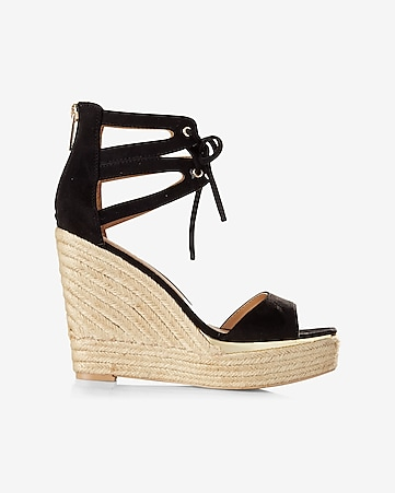 faux suede espadrille lace up wedge sandal
