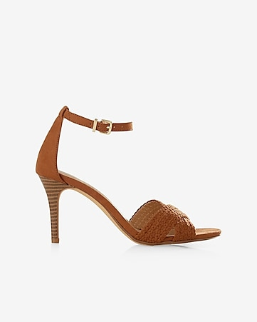 braided crisscross heeled sandal