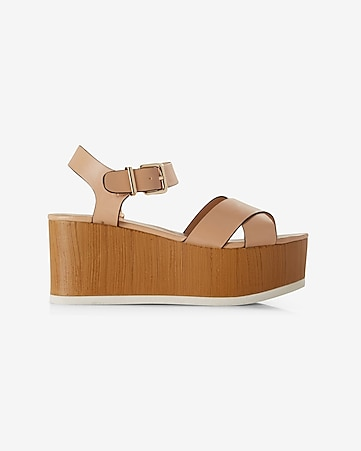 crisscross strap flatform wedge