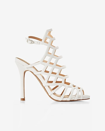 white caged heeled sandal