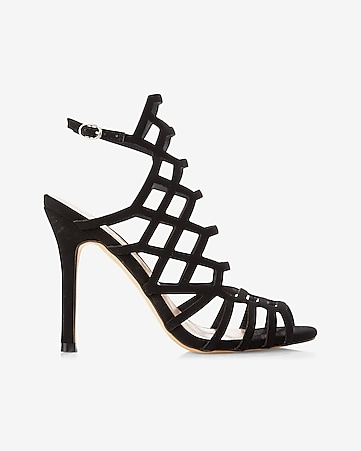 caged heeled sandal