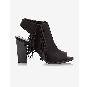 fringed peep toe heeled bootie