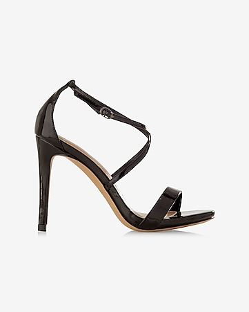 black patent leather crisscross heeled sandal