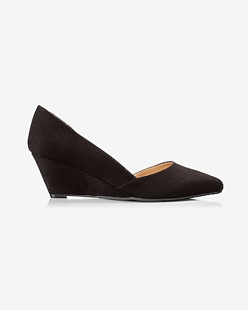 faux suede wedge d'orsay pump