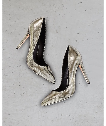metallic lizard express edition pointed toe pump
