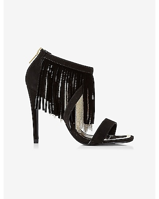 Express Womens Chain And Suede Fringe Runway Heel