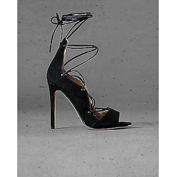 black suede express edition lace up sandal