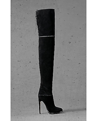EXPRESS Women's Shoes Black Suede Express Edition Thigh High Boot Black 9