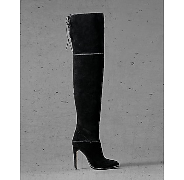 black suede express edition thigh high boot
