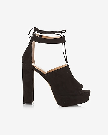 platform heeled lace-up sandal
