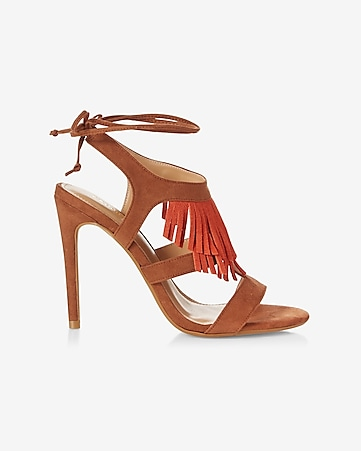 fringe lace-up heeled sandal