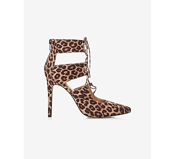 leopard print lace up pump