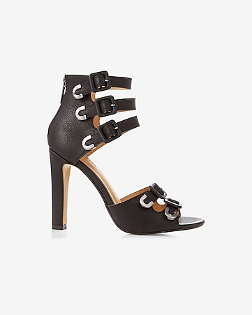 (minus the) leather strappy heeled sandal