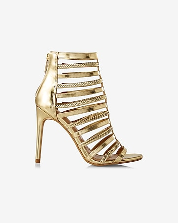 metallic braided cage sandal