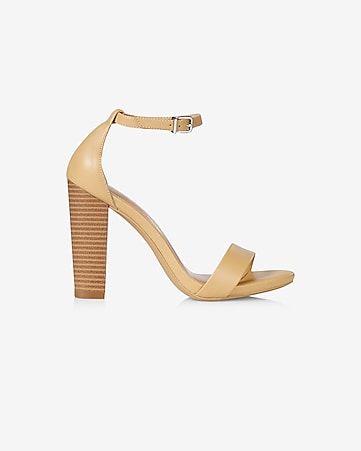 faux leather thick heeled sandal