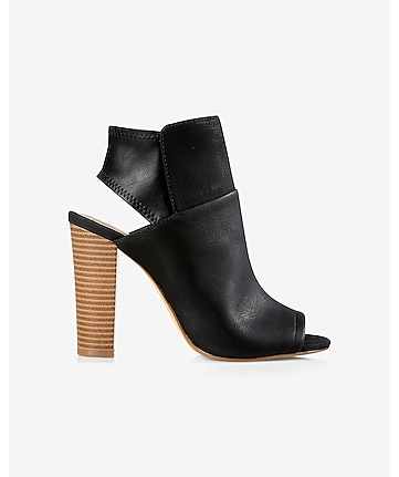 black shield peep toe bootie