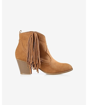 fringed faux suede western bootie