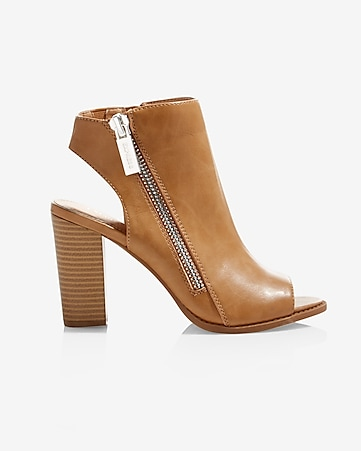 side zip peep toe heeled bootie
