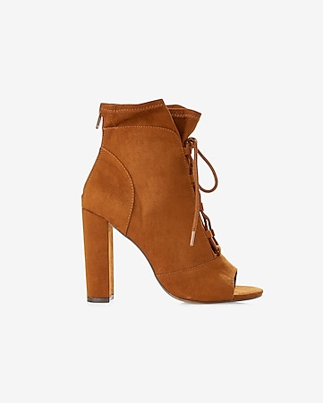 lace-up slouchy peep toe bootie