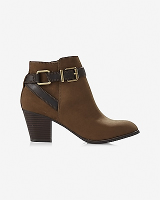 Express Womens Buckle Ankle Boot Brown 5