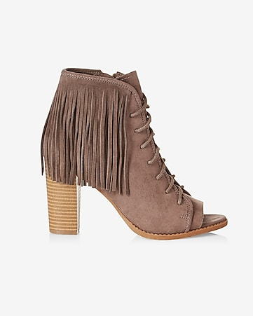 fringed lace-up peep toe heeled bootie