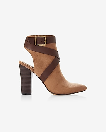 heeled buckle strap open back bootie