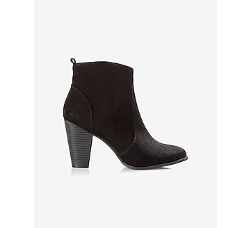 faux suede western heeled bootie