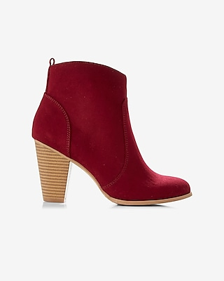 Express Womens Faux Suede Western Heeled Bootie