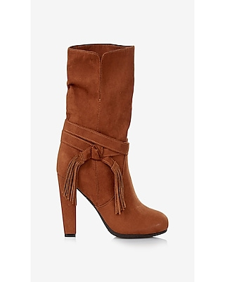 Express Womens Tassel Slouch Boot Brown 6