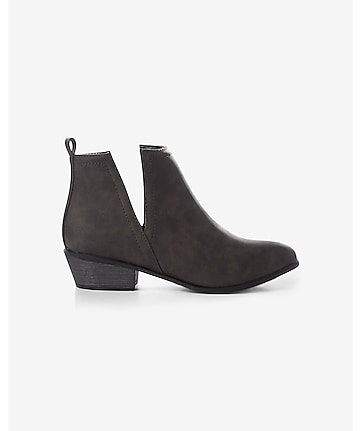 gray gore side pull-on heeled bootie