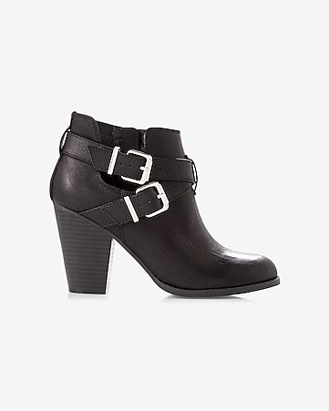 open heeled buckle bootie