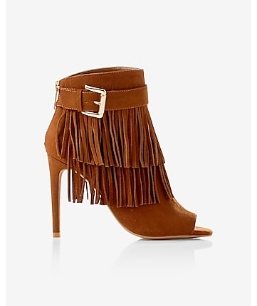 fringed peep toe buckle bootie