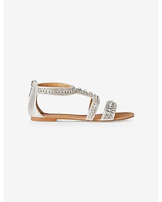 EXPRESS Women's Shoes Rhinestone Embellished Metallic Sandal Silver 8